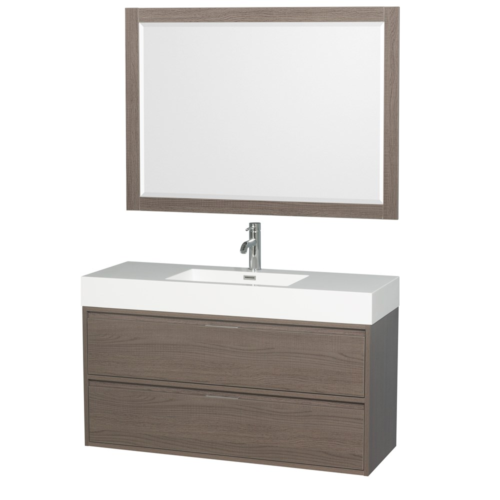 Daniella 48 Wall Mounted Bathroom Vanity Set With Integrated Sink Gray Oak Beautiful Bathroom Furniture For Every Home Wyndham Collection