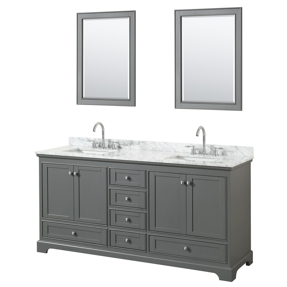 "Deborah 72"" Double Bathroom Vanity - Dark Gray WC-2020-72-DBL-VAN-DKG"