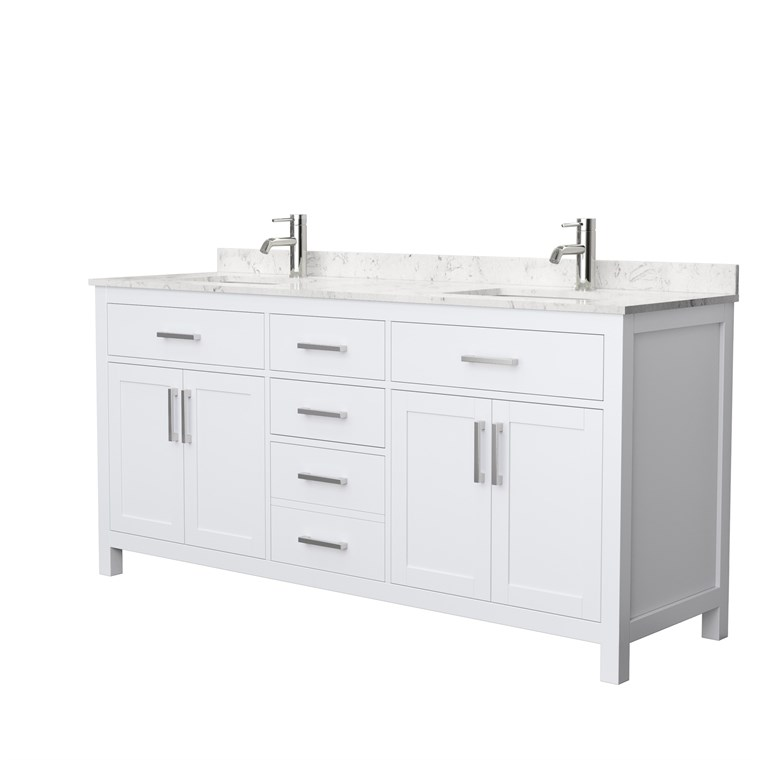 "Beckett 72"" Double Bathroom Vanity - White WC-2424-72-DBL-VAN-WHT"