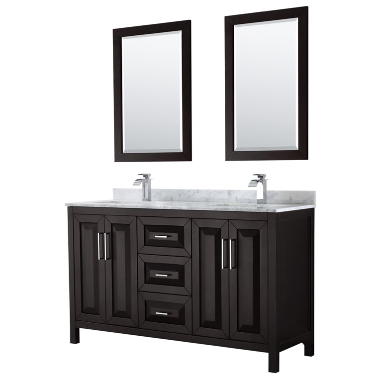 "Daria 60"" Double Bathroom Vanity by Wyndham Collection - Dark Espresso WC-2525-60-DBL-VAN-DES"