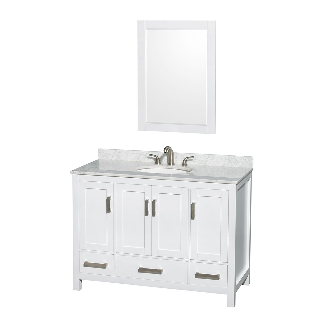 Sheffield 48 Single Bathroom Vanity, White 48 Inch Bathroom Vanity