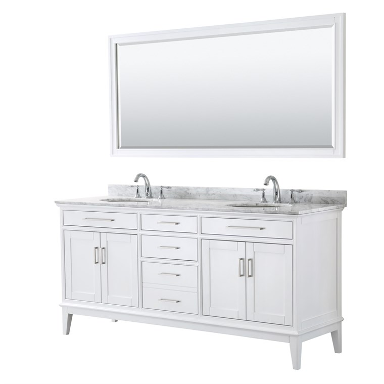"Margate 72"" Double Bathroom Vanity by Wyndham Collection - White WC-3030-72-DBL-VAN-WHT"