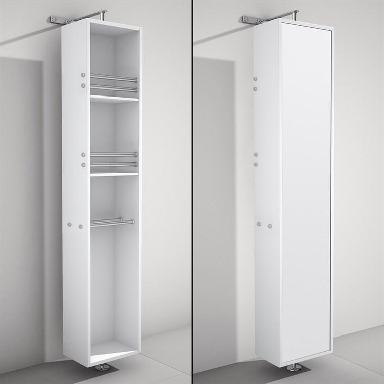 April Rotating Floor Cabinet with Mirror - Matte White WC-V202-WHT