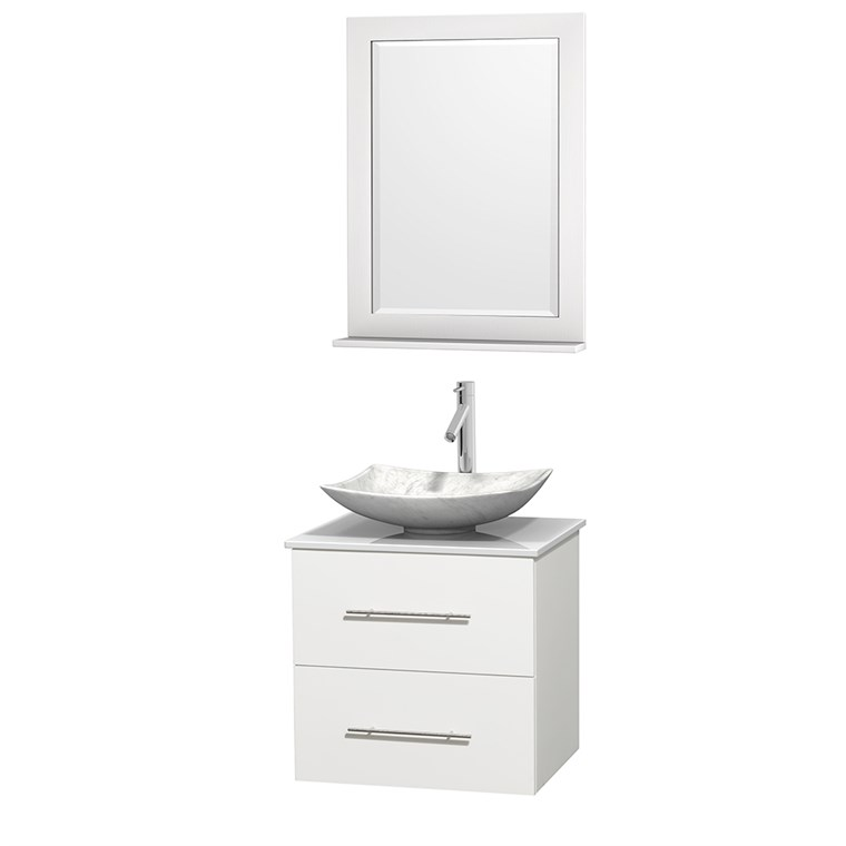 "Centra 24"" Single Bathroom Vanity for Vessel Sink - Matte White WC-WHE009-24-SGL-VAN-WHT_"