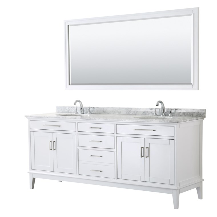 "Margate 80"" Double Bathroom Vanity by Wyndham Collection - White WC-3030-80-DBL-VAN-WHT"