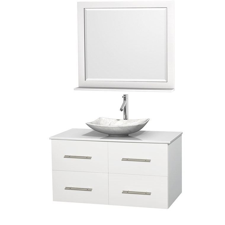 "Centra 42"" Single Bathroom Vanity for Vessel Sink - Matte White WC-WHE009-42-SGL-VAN-WHT_"