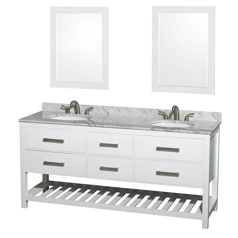 "Natalie 72"" Double Bathroom Vanity - White WC-2111-72-DBL-VAN-WHT"