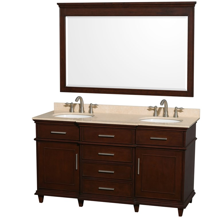 "Berkeley 60"" Double Bathroom Vanity - Dark Chestnut WC-1717-60-DBL-CDK"