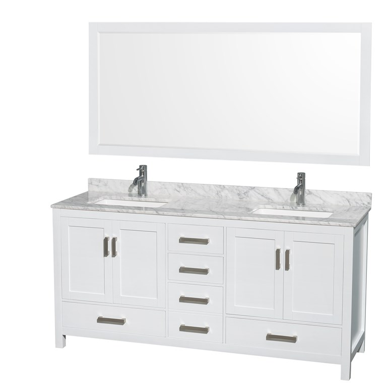 "Sheffield 72"" Double Bathroom Vanity by Wyndham Collection - White WC-1414-72-DBL-VAN-WHT"