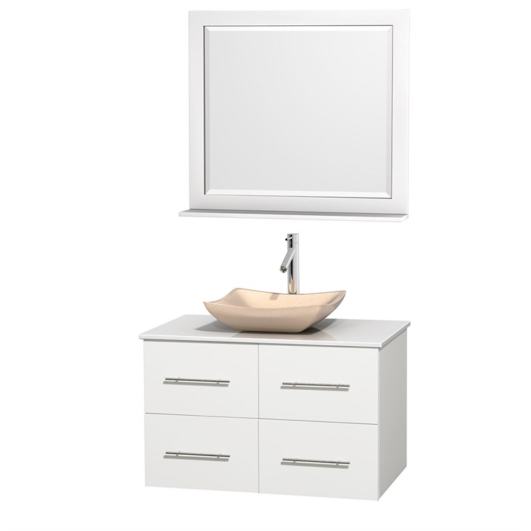 "Centra 36"" Single Bathroom Vanity for Vessel Sink - Matte White WC-WHE009-36-SGL-VAN-WHT_"