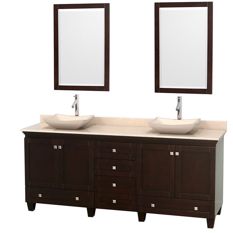 "Acclaim 80"" Double Bathroom Vanity for Vessel Sinks - Espresso WC-CG8000-80-DBL-VAN-ESP"