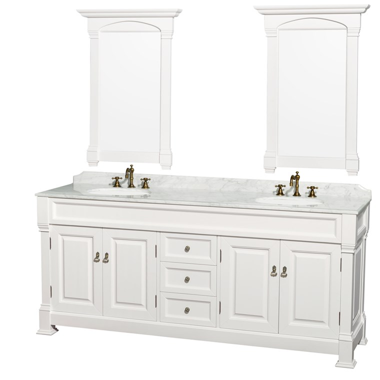 "Andover 80"" Traditional Bathroom Double Vanity Set - White WC-TD80-WHT"