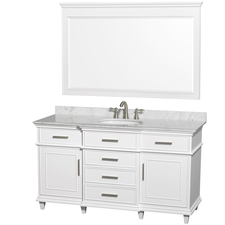 "Berkeley 60"" Single Bathroom Vanity - White WC-1717-60-SGL-WHT"