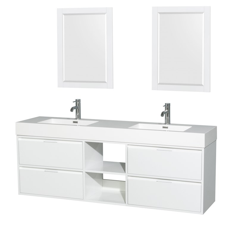 "Daniella 72"" Wall-Mounted Double Bathroom Vanity Set With Integrated Sinks - Glossy White WC-R4600-72-VAN-WHT"