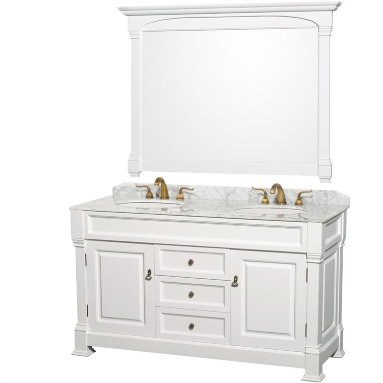 "Andover 60"" Traditional Bathroom Double Vanity Set - White WC-TD60-WHT"