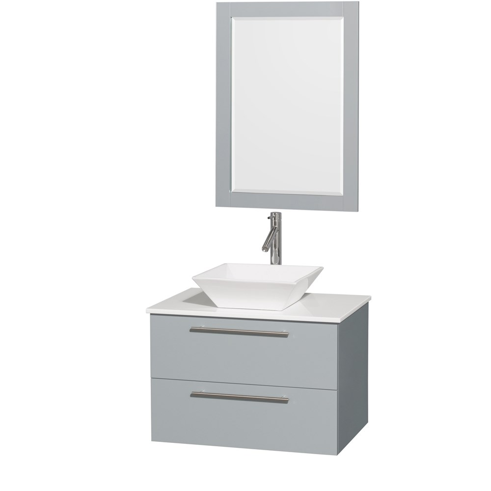 Amare 30 Wall Mounted Bathroom Vanity Set With Vessel Sink Dove Gray Beautiful Bathroom Furniture For Every Home Wyndham Collection