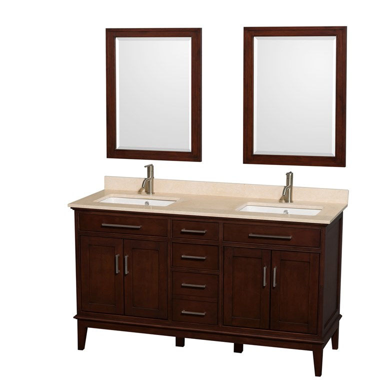 "Hatton 60"" Double Bathroom Vanity - Dark Chestnut WC-1616-60-DBL-VAN-CDK"