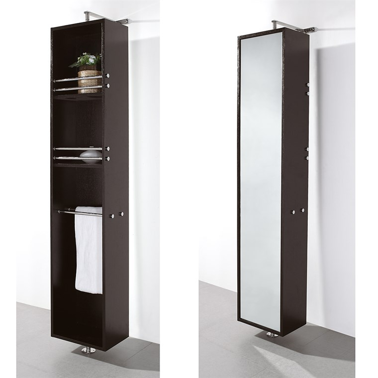 Claire Rotating Floor Cabinet with Mirror - Espresso WC-B802-ESP