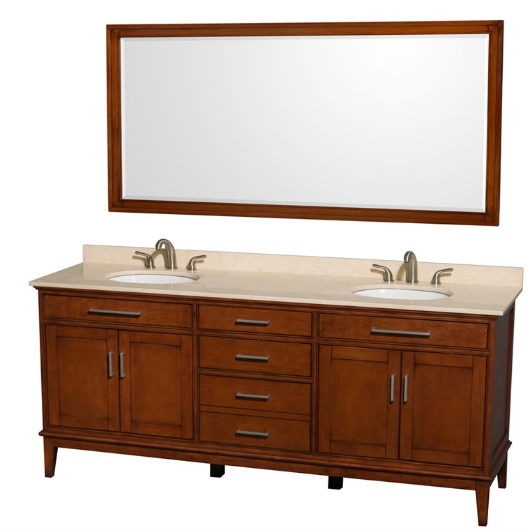 "Hatton 80"" Double Bathroom Vanity - Light Chestnut WC-1616-80-DBL-VAN-CLT"