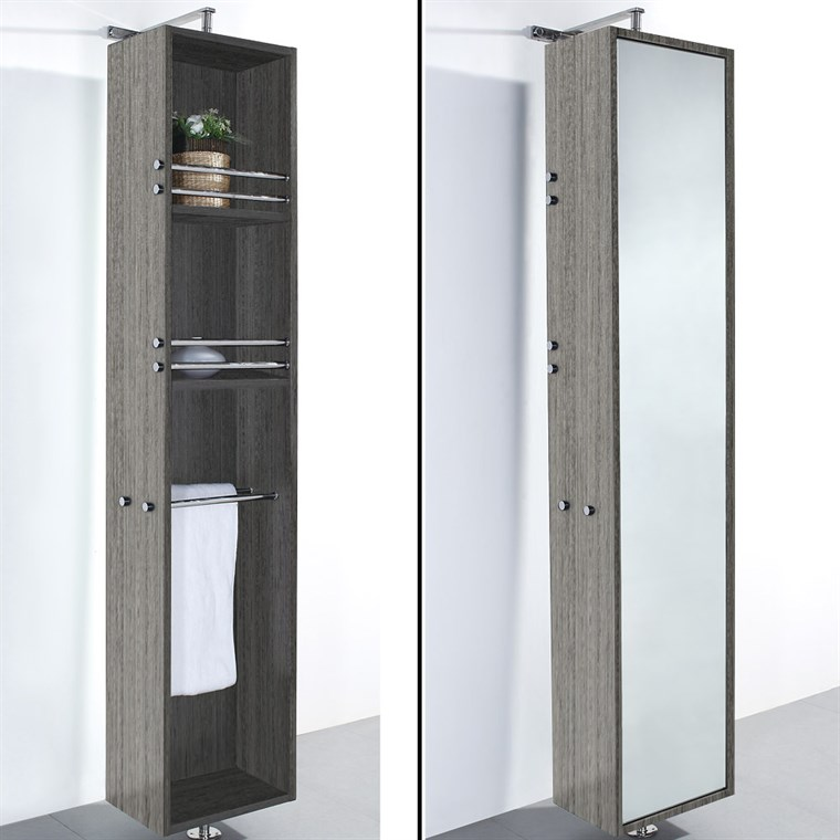 April Rotating Floor Cabinet with Mirror - Gray Oak WC-V202-GROAK