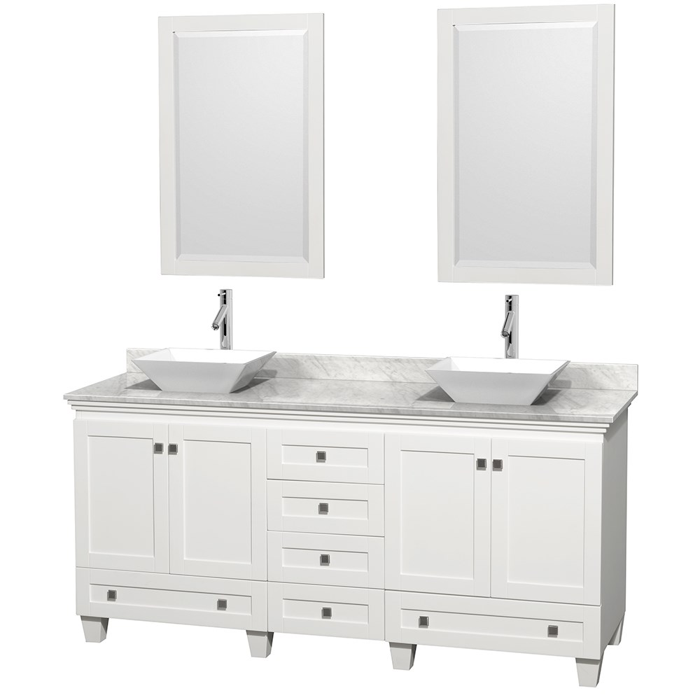 Acclaim 72 Double Bathroom Vanity For Vessel Sinks White