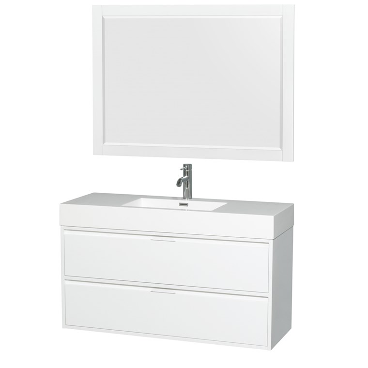 "Daniella 48"" Wall-Mounted Bathroom Vanity Set With Integrated Sink - Glossy White WC-R4600-48-VAN-WHT"