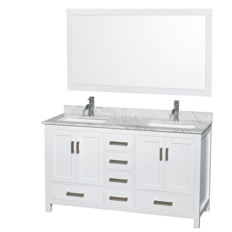"Sheffield 60"" Double Bathroom Vanity by Wyndham Collection - White WC-1414-60-DBL-VAN-WHT"