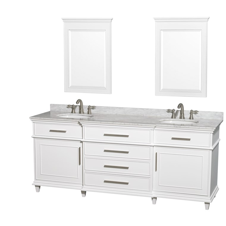 "Berkeley 80"" Double Bathroom Vanity - White WC-1717-80-DBL-WHT"