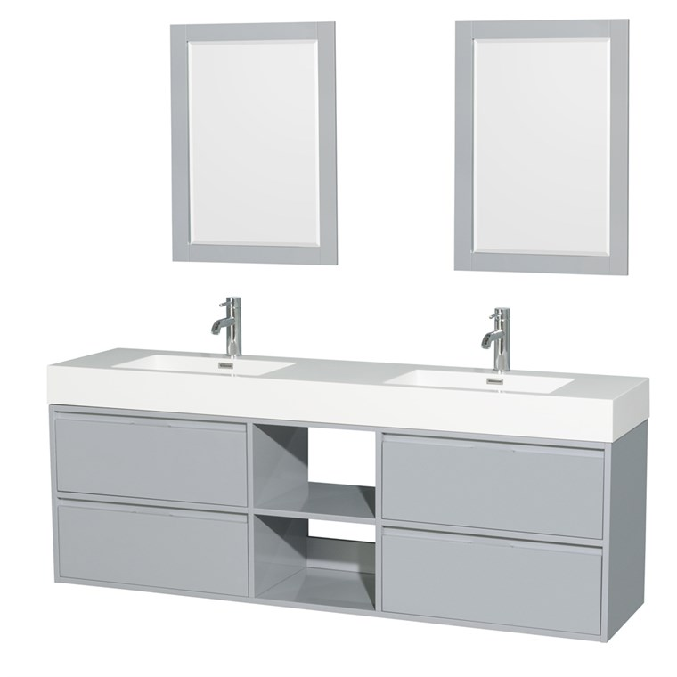 "Daniella 72"" Wall-Mounted Double Bathroom Vanity Set With Integrated Sinks - Dove Gray WC-R4600-72-VAN-DVG"