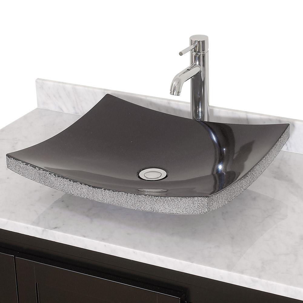 Altair Vessel Sink Black Granite, Granite Sink Bathroom