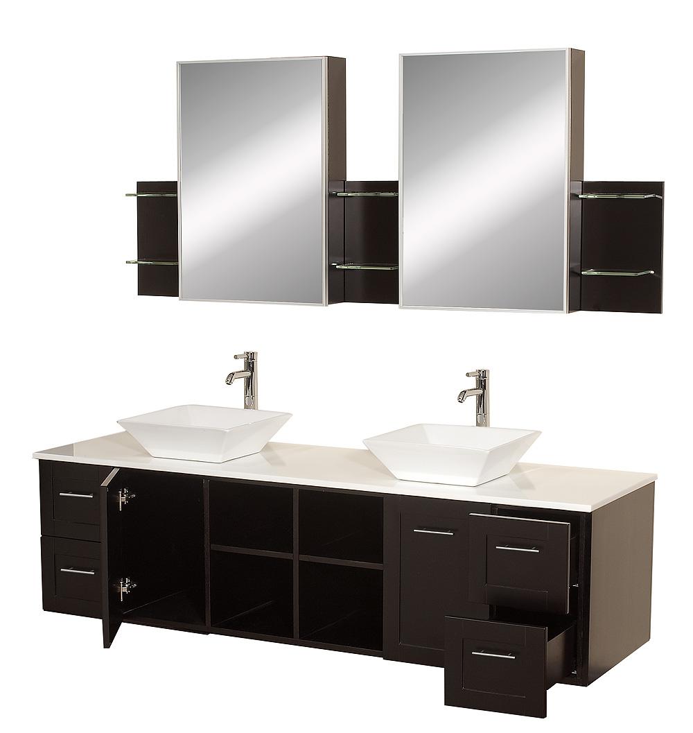 Avara 72 Wall Mounted Double Bathroom, Bathroom Vanities Double Sink 72