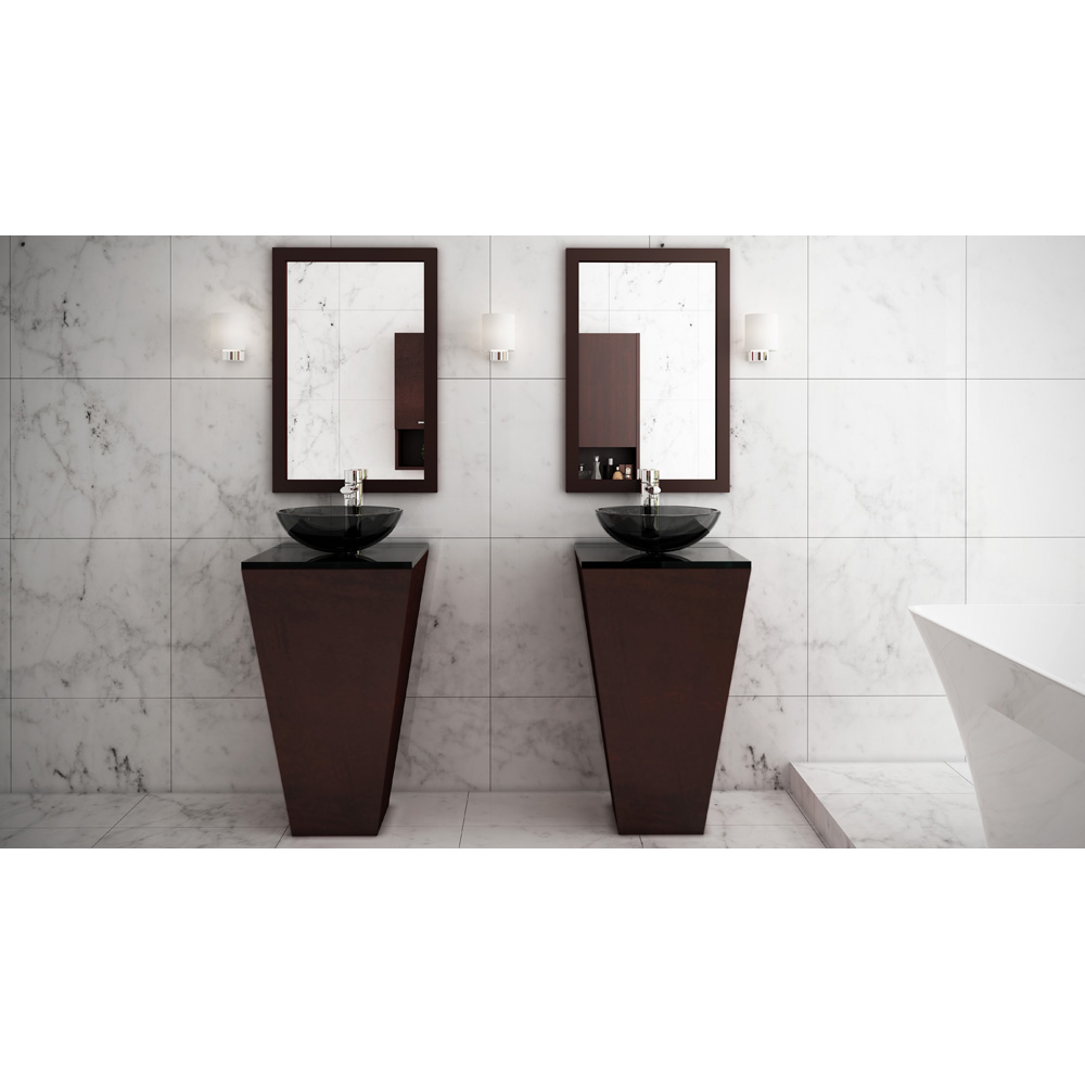 Esprit Bathroom Pedestal Vanity Set Espresso W Smoke Glass Vessel Sink Beautiful Bathroom Furniture For Every Home Wyndham Collection