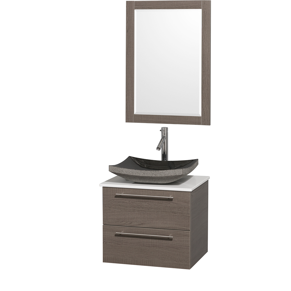 Amare 24 Wall Mounted Bathroom Vanity Set With Vessel Sink Gray Oak Beautiful Bathroom Furniture For Every Home Wyndham Collection