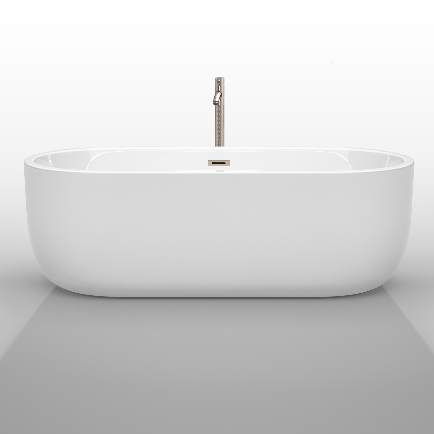 60 Juliette Freestanding Bathtub in White With Drain and