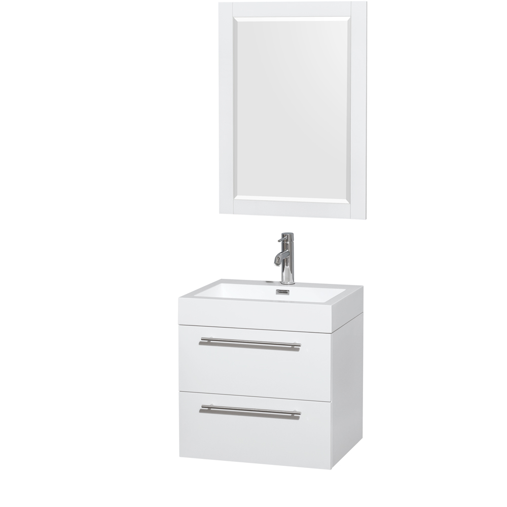 Amare 24 Wall Mounted Bathroom Vanity Set With Integrated Sink
