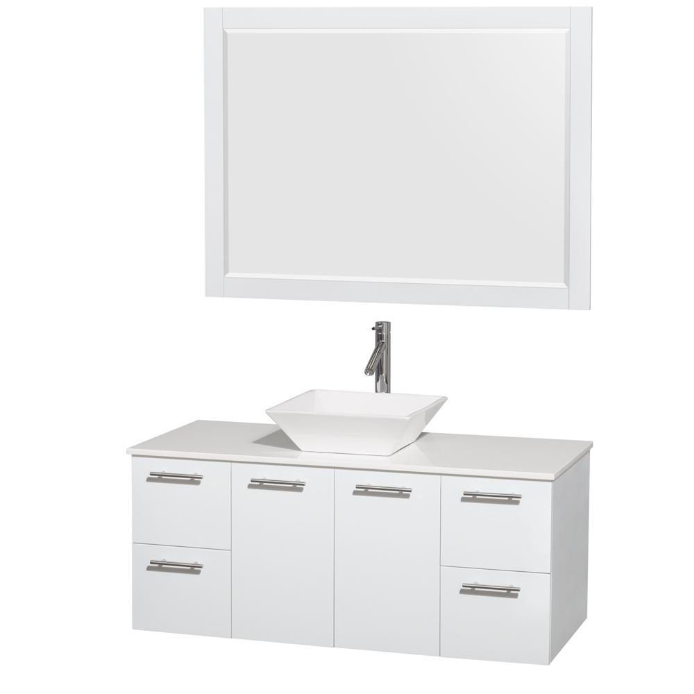 Amare 48 Wall Mounted Bathroom Vanity Set With Vessel Sink
