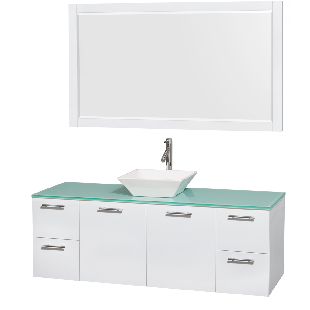 Amare 60 Wall Mounted Single Bathroom Vanity Set With Vessel Sink