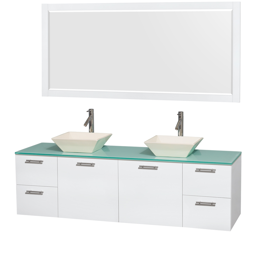 Amare 72 Wall Mounted Double Bathroom Vanity Set With Vessel Sinks Glossy White Beautiful Furniture For Every Home Wyndham Collection