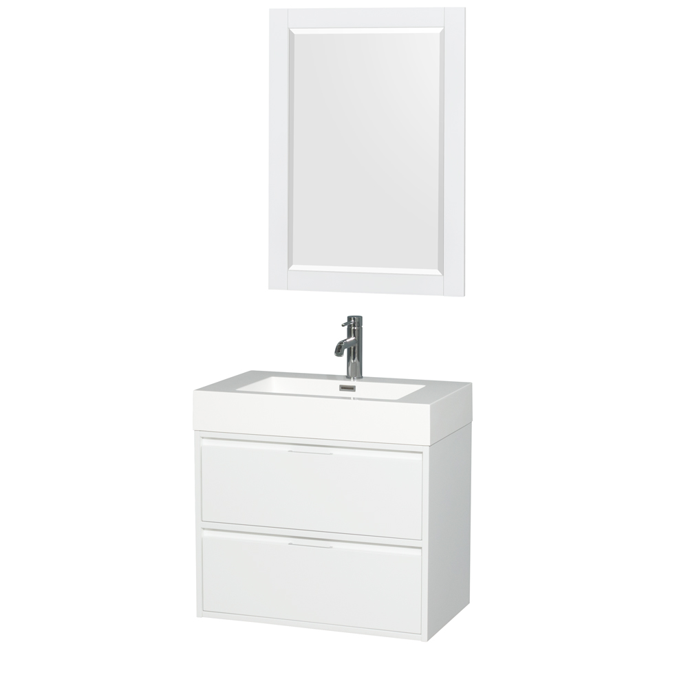 Daniella 30 Wall Mounted Bathroom Vanity Set With Integrated Sink Glossy White Beautiful Bathroom Furniture For Every Home Wyndham Collection