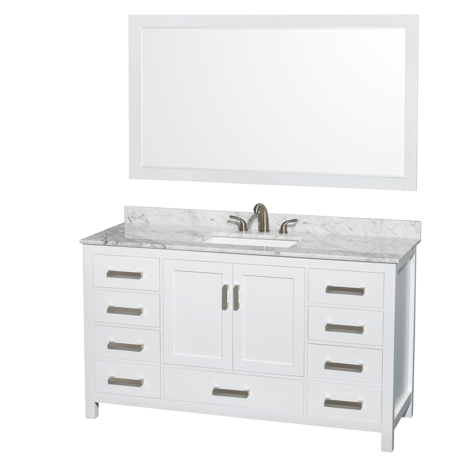 Sheffield 60 Single Bathroom Vanity Square Sink 3 Hole White Beautiful Bathroom Furniture For Every Home Wyndham Collection