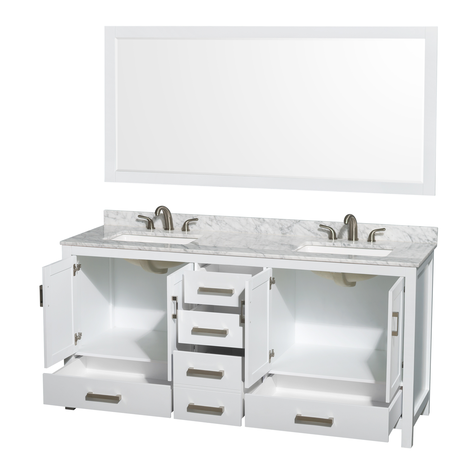 Sheffield 72 Double Bathroom Vanity Square Sinks 3 Hole White Beautiful Bathroom Furniture For Every Home Wyndham Collection