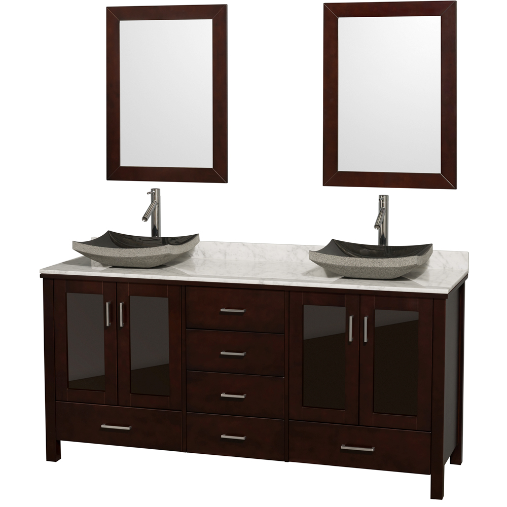 Lucy 72 Double Bathroom Vanity Set With Vessel Sinks Espresso Beautiful Bathroom Furniture For Every Home Wyndham Collection