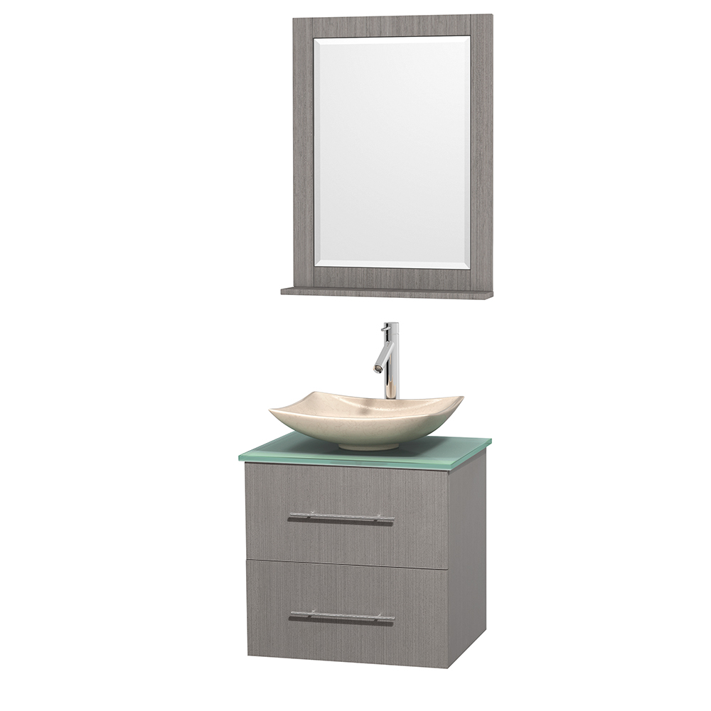 Centra 24 Single Bathroom Vanity For Vessel Sink Gray Oak Beautiful Bathroom Furniture For Every Home Wyndham Collection