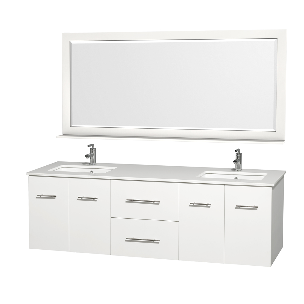 Centra 72 Double Bathroom Vanity For Undermount Sinks Matte White Beautiful Furniture Every Home Wyndham Collection