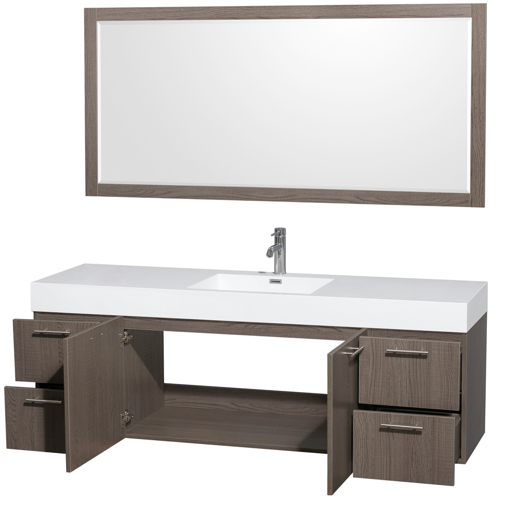Amare 72 Wall Mounted Single Bathroom Vanity Set With Integrated Sink Gray Oak Beautiful Bathroom Furniture For Every Home Wyndham Collection