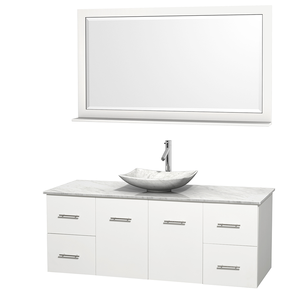Centra 60 Single Bathroom Vanity For Vessel Sink Matte White Beautiful Bathroom Furniture For Every Home Wyndham Collection